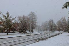 Снежности в снеге города бушуют в NYC Стоковая Фотография