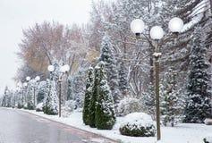 Снежности и уличные фонари Стоковое Изображение
