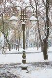 Снежности и уличные фонари Стоковые Изображения RF