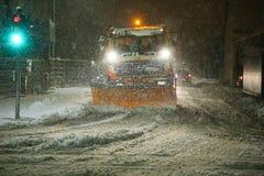 Снежности на улицах Velika Gorica, Хорватии стоковые изображения rf