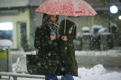 Снежности на улицах Velika Gorica, Хорватии стоковые изображения
