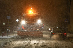 Снежности на улицах Velika Gorica, Хорватии стоковое фото