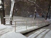 Снежности снега и мост парка стоковая фотография rf