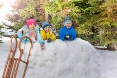 Снежный ком игры много маленьких ребеят в парке зимы Стоковая Фотография
