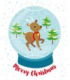 Снежный ком с милым северным оленем, снегом и деревьями бесплатная иллюстрация