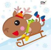 снежок водить северного оленя иллюстрация вектора