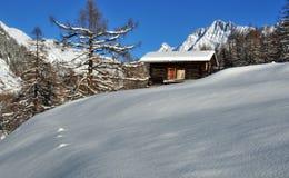 снежок горы кабины старый Стоковая Фотография