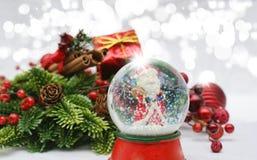 снежок глобуса рождества предпосылки Стоковые Изображения