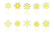 снежок кристаллов золотистый иллюстрация вектора