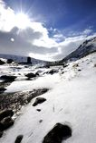 Снежок на речном береге стоковые фотографии rf