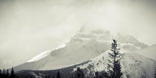 Снежок покрыл утесистую гору Стоковая Фотография RF