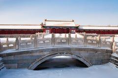 снежок покрытый городом запрещенный Стоковое фото RF
