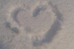 снежок сердца поля глубины отмелый Стоковое Изображение
