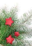 снежок firtree рождества красный играет главные роли белизна Стоковая Фотография RF