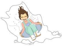 Снежок Sledding Стоковое Изображение