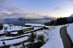 снежок zealand гор озера новый сценарный Стоковая Фотография