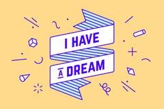 сновидение имеет I Винтажное знамя ленты иллюстрация штока