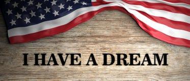 сновидение имеет I Цитата младшего Мартина Лютера Кинга текст на деревянной предпосылке с нами флаг иллюстрация 3d иллюстрация штока