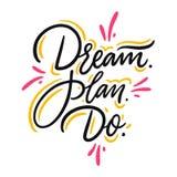 сновидение план Сделайте Нарисованная рукой литерность вектора Мотивационная вдохновляющая цитата бесплатная иллюстрация