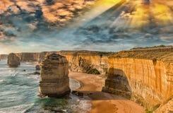 Сногсшибательный взгляд 12 апостолов, Австралия захода солнца Стоковое Изображение