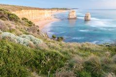 Сногсшибательный взгляд 12 апостолов, большая дорога захода солнца океана - Vict Стоковое Изображение RF