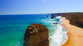 Сногсшибательный взгляд 12 апостолов от вертолета, Австралии Стоковое Изображение RF