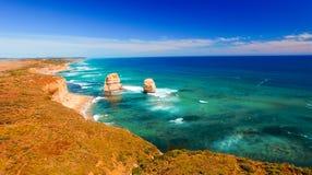 Сногсшибательный взгляд 12 апостолов от вертолета, Австралии Стоковые Фото