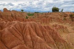 Сногсшибательный взгляд к красочному ландшафту пустыни Tatacoa Стоковое Изображение