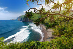 Сногсшибательный взгляд скалистого пляжа долины Pololu, большого острова, Гаваи Стоковые Изображения RF