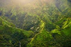 Сногсшибательный вид с воздуха эффектных джунглей, Кауаи стоковое фото rf