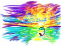 Сногсшибательный заход солнца на море Стоковые Фотографии RF