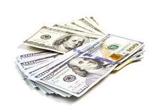 Сноп старых и новых долларов Стоковые Фото