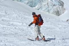 сноубординг ледника стоковая фотография