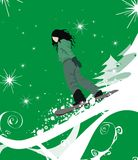 сноубординг иллюстрации девушки Стоковая Фотография RF