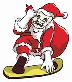 Сноубординг santa Bonehead Стоковая Фотография RF