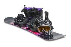 Сноуборд с ботинком, перчатками и изумлёнными взглядами Стоковое фото RF