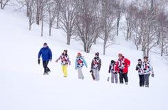 Сноуборд - тренировка группы Стоковая Фотография