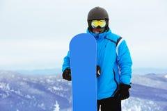 Сноуборд лыжи snowboarder портрета крупного плана Стоковое Изображение