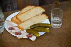 Снятый водочки с салом, с хлебом, солью и соленьем на w стоковые изображения
