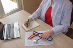 Снятый женских рук ` s врача Таблица деятельности ` s доктора медицины Стоковая Фотография