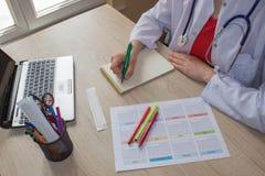 Снятый женского медицинского doctor& x27; руки s Doctor& x27 медицины; таблица деятельности s Стоковые Изображения
