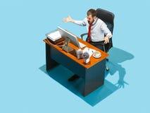 Снятый сверху стильного бизнесмена работая на компьтер-книжке Стоковые Фото