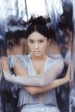 Снятый футуристической молодой азиатской женщины стоковые изображения rf