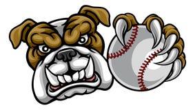 Собака бульдога держа талисман спорт шарика бейсбола иллюстрация вектора