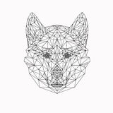 Собака вектора в тонкой линии стиле Абстрактное низкое поли животное Силуэт стороны волка для знамени, взрослых страниц книжка-ра Стоковые Изображения RF