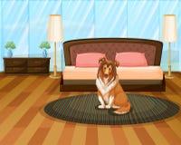 Собака в спальне Стоковые Изображения