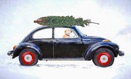 Собака в старом автомобиле с импрессионизмом рождественской елки Стоковые Изображения RF