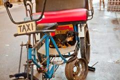 Собака в такси велосипеда в старых Гаване/Кубе Стоковое фото RF