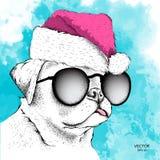 Собака в шляпе Санта Клауса бежит новое Year& x27; предпосылка s также вектор иллюстрации притяжки corel Стоковая Фотография