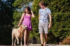 Собака девушки мальчика идя говоря Стоковые Фотографии RF